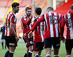 Kieron Freeman of Sheffield Utd celebrates with Stefan Scougall of Sheffield Utd during the Emirates FA Cup Round One match at Bramall Lane Stadium, Sheffield. Picture date: November 6th, 2016. Pic Simon Bellis/Sportimage