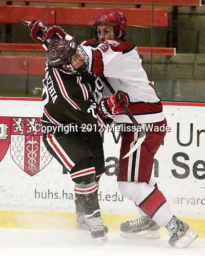 Massimo Lamacchia (Brown - 29), Danny Biega (Harvard - 9) - The Harvard University Crimson defeated the visiting Brown University Bears 3-2 on Friday, November 2, 2012, at the Bright Hockey Center in Boston, Massachusetts.