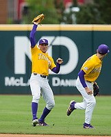 NWA Democrat-Gazette/BEN GOFF @NWABENGOFF<br /> Antoine Duplantis (left), LSU right fielder, catches a fly ball in the 5th inning vs Arkansas Saturday, May 11, 2019, at Baum-Walker Stadium in Fayetteville.