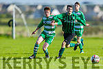 Fenit Samphires Dylan Flynn and Tommy Keane of  Listowel Celtic tussle for possession in the Munster Junior Cup in Fenit on Sunday