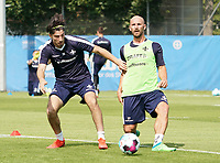Ensar Arslan (SV Darmstadt 98) gegen Patrick Herrmann (SV Darmstadt 98) - 01.08.2020: SV Darmstadt 98 Trainingsauftakt, Stadion am Boellenfalltor, 2. Bundesliga, emonline, emspor<br /> <br /> DISCLAIMER: <br /> DFL regulations prohibit any use of photographs as image sequences and/or quasi-video.