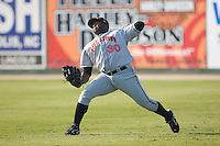 Right fielder Michael Burgess (30) of the Hagerstown Suns fires the ball back to the infield at Fieldcrest Cannon Stadium in Kannapolis, NC, Sunday May 25, 2008.
