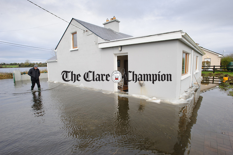 Nancy Walsh's flooded home at Caherbroder, Gort adjacent to the M18 motorway.  Photograph by John Kelly.