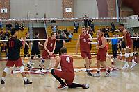 STANFORD, CA - December 30, 2017: Evan Enriques, Leo Henken, Eric Beatty, Stephen Moye, Russell Dervay, Jaylen Jasper at Burnham Pavilion. The Stanford Cardinal defeated the Calgary Dinos 3-1.