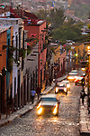 Narrow cobblestone streets at San Miguel De Allende, Mexico