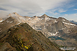 The view of Columbine Lake and Sawtooth Peak, from Blackrock Pass