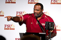 TALLAHASSEE, FLA. 2/6/13-FSUSIGNDAY020613 CH-Florida State University Defensive Tackles Coach Odell Haggins talks about the 2013 recruiting class during the national signing day War Party, Feb. 6, 2013 in Tallahassee..COLIN HACKLEY PHOTO