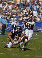 Sept. 17, 2006; San Diego, CA, USA; San Diego Chargers punter (5) Mike Scifres and kicker (10) Nate Kaeding watch a field goal against the Tennessee Titans at Qualcomm Stadium in San Diego, CA. Mandatory Credit: Mark J. Rebilas