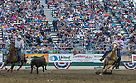 Action from the Team Roping event during the Reno Rodeo in Reno, Nevada on Saturday, June 23, 2018.