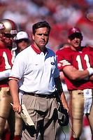 SAN FRANCISCO, CA - Head coach Steve Mariucci of the San Francisco 49ers in action during a game at Candlestick Park in San Francisco, California in 1997. Photo by Brad Mangin