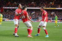 André Green of Charlton Athletic, Conor Gallagher of Charlton Athletic and Josh Davison of Charlton Athletic celebrates during Charlton Athletic vs West Bromwich Albion, Sky Bet EFL Championship Football at The Valley on 11th January 2020