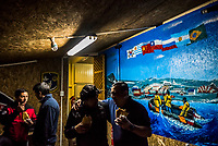 ANTARCTICA - NOVEMBER 26: Chilean Navy, and logistics personnel gather for a party celebrating their 1 year deployment in Antarctica, on the 26th of November, 2015 in the Fildes Peninsula on King George Island, Antarctica. <br /> <br /> Daniel Berehulak for The New York Times
