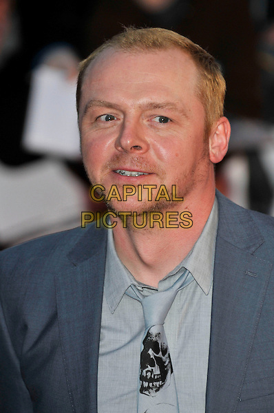 SIMON PEGG .Arrivals - 2009 Brit Awards, Earls Court, London, England, February 18th 2009..portrait headshot grey gray skull print tie.CAP/PL.©PL/Capital Pictures