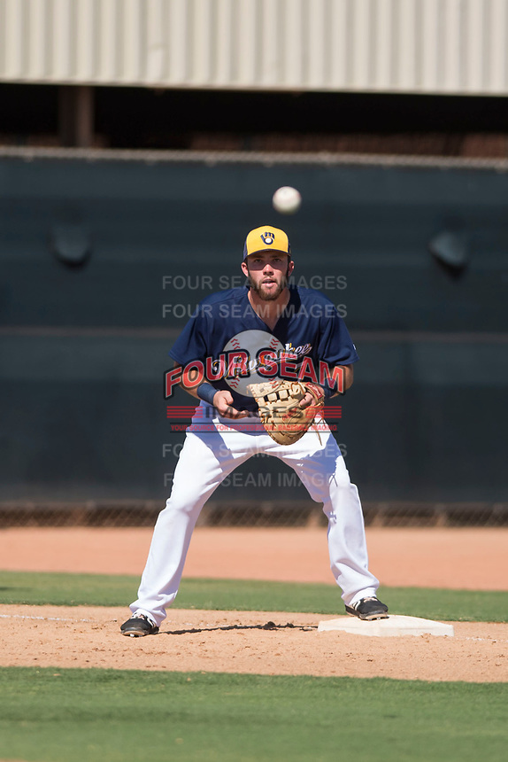 Milwaukee Brewers first baseman David Fry (7) waits to receive a throw during an Instructional League game against the Los Angeles Dodgers at Maryvale Baseball Park on September 24, 2018 in Phoenix, Arizona. (Zachary Lucy/Four Seam Images)