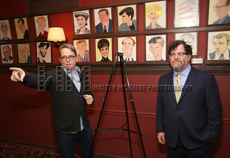 Matthew Broderick and Kenneth Lonergan attend the unveiling of the Kenneth Lonergan caricature at Sardi's on February 17, 2017 in New York City.
