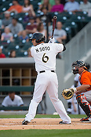 Neftali Soto (6) of the Charlotte Knights at bat against the Norfolk Tides at BB&T BallPark on April 9, 2015 in Charlotte, North Carolina.  The Knights defeated the Tides 6-3.   (Brian Westerholt/Four Seam Images)