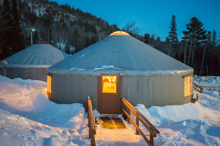 The yurt headquarters of Mount Bohemia ski area in Michigan.