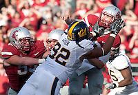 Trevor Guyton puts pressure on quarterback Jeff Tuel. The University of California football defeated Washington State University 20-13 at Martin Stadium in Pullman, Washington on November 6th, 2010.