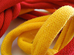 A macro shot of knitted cord