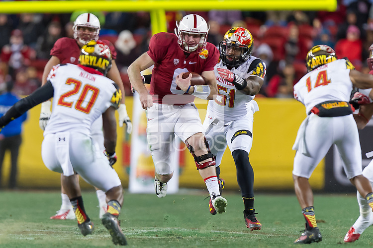 SANTA CLARA, CA - DECEMBER 30, 2014: Kevin Hogan during Stanford's game against Maryland in the 2014 Foster Farms Bowl. The Cardinal defeated the Terrapins 45-21.