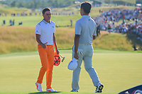 Rickie Fowler (USA) shakes hands with Si Woo Kim (KOR) following Sunday's round 4 of the 117th U.S. Open, at Erin Hills, Erin, Wisconsin. 6/18/2017.<br /> Picture: Golffile | Ken Murray<br /> <br /> <br /> All photo usage must carry mandatory copyright credit (&copy; Golffile | Ken Murray)