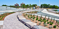 Landscaping nearing completion at Centennial Park. Walkway open for pedestrians