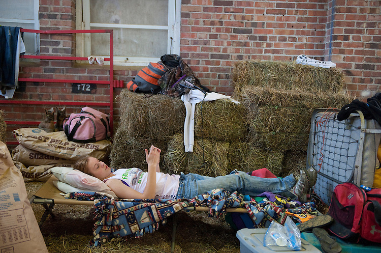 UNITED STATES - AUGUST 12:  Kate Schlueter, 16, a cattle competitor from Worthington, Iowa, hangs out at the Iowa State Fair in Des Moines, Iowa.  (Photo By Tom Williams/Roll Call)