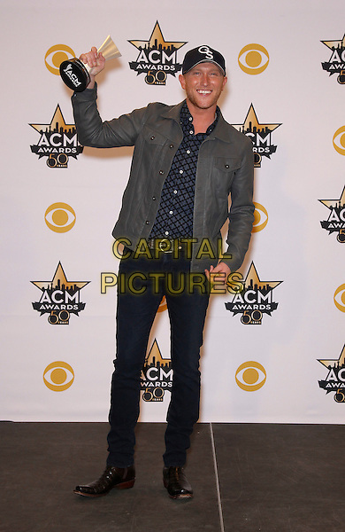 19 April 2015 - Arlington, TX -   Cole Swindell.  The 2015 ACM Awards at AT&amp;T Stadium- Press Room<br /> CAP/ADM/MJT<br /> &copy; MJT/AdMedia/Capital Pictures