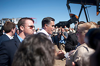 Presumptive Republican candidate for President Mitt Romney (cq) greets the a crowd after a speech at a K.P. Kauffman Company drilling rig in Fort Lupton, Colorado, Wednesday, May 9, 2012. Romney was giving a recovering the economy stump speech.<br /> <br /> Photo by MATT NAGER