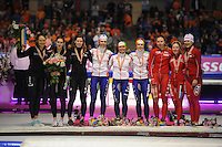 SCHAATSEN: HEERENVEEN: Thialf, Essent ISU World Single Distances Championships 2012, 25-03-2012, Podium Team Pursuit Ladies, Team Canada (Cindy Klassen, Brittany Schussler, Christine Nesbitt), Team Netherlands (Diane Valkenburg, Linda de Vries, Ireen Wüst), Team Poland (Natalia Czerwonka, Katarzyna Wozniak, Luiza Zlotkowska), ©foto Martin de Jong