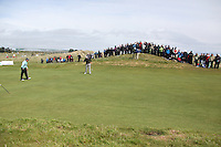 Johan Edfors playing his forth shot on the second hole at the final round at the 3 Irish open in Co Louth Golf Club...Photo: Fran Caffrey/www.golffile.ie..