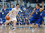March 4, 2017:  Boise State guard, Justinian Jessup #3, drives past Falcon, Zach Kocur #5, during the NCAA basketball game between the Boise State Broncos and the Air Force Academy Falcons, Clune Arena, U.S. Air Force Academy, Colorado Springs, Colorado.  Boise State defeats Air Force 98-70.