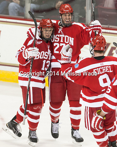 Nikolas Olsson (BU - 13), Doyle Somerby (BU - 27), Jack Eichel (BU - 9) - The visiting Boston University Terriers defeated the Boston College Eagles 5-3 (EN) on Friday, November 7, 2014, at Kelley Rink in Conte Forum in Chestnut Hill, Massachusetts.