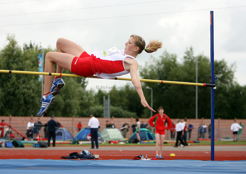 Photo: Rich Eaton...Schools International Athletic Board, Track & Field International Match, Newport. 21/07/2007. Christina Parsons of England competes in the girls high jump.