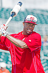 10 March 2015: Washington Nationals outfielder Derrick Robinson awaits his turn in the batting cage prior to a Spring Training game against the Miami Marlins at Roger Dean Stadium in Jupiter, Florida. The Marlins edged out the Nationals 2-1 on a walk-off solo home run in the 9th inning of Grapefruit League play. Mandatory Credit: Ed Wolfstein Photo *** RAW (NEF) Image File Available ***