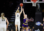 SIOUX FALLS, SD - MARCH 8: Evan Zars #54 of the Western Illinois Leathernecks goes up for a block against Katie Kirkhart #3 of the Oral Roberts Golden Eagles at the 2020 Summit League Basketball Championship in Sioux Falls, SD. (Photo by Richard Carlson/Inertia)