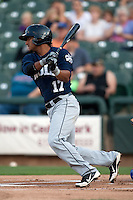 New Orleans Zephyrs shortstop Donovan Solano #17 swings during the Pacific Coast League baseball game against the Round Rock Express on April 30, 2012 at The Dell Diamond in Round Rock, Texas. The Zephyrs defeated the Express 5-3. (Andrew Woolley / Four Seam Images).