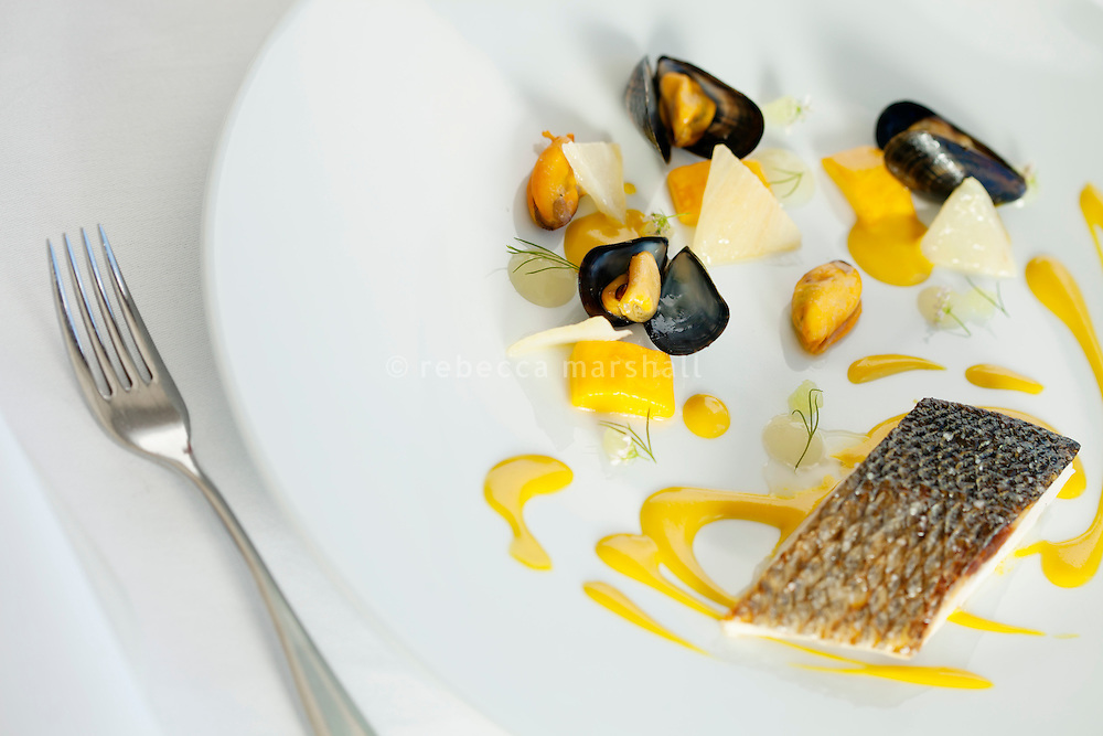 Mediterranean sea bass served with saffron sauce and mussels [Loup de la mediterranée, sauce safran et moules de bouchon] at restaurant Mirazur, Menton, France, 18 September 2013