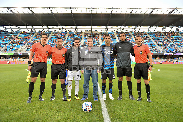 San Jose, CA - Saturday June 09, 2018: Feilhaber, Chris Wondolowski, Hilario Grajeda during a Major League Soccer (MLS) match between the San Jose Earthquakes and Los Angeles Football Club at Avaya Stadium.