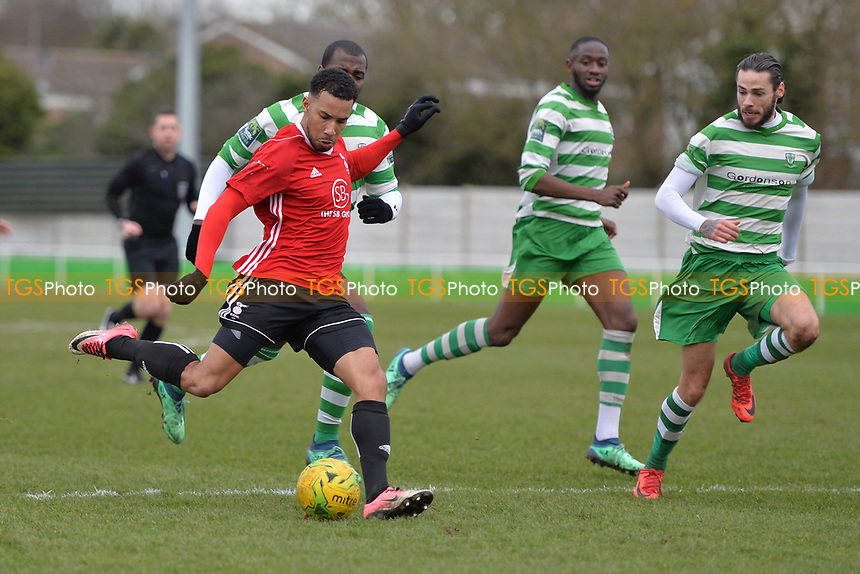 Ashleigh Artwell of Bracknell Town shoots wide during Waltham Abbey vs Bracknell Town, Bostik League South Central Division Football at Capershotts on 9th February 2019