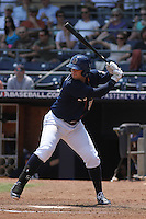 Durham Bulls infielder Matt Mangini #33 at bat during a game against the Louisville Bats at Durham Bulls Athletic Park on May 2, 2012 in Durham, North Carolina. Durham defeated Louisville by the score of 7-5. (Robert Gurganus/Four Seam Images)