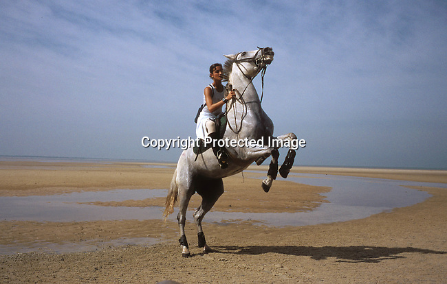 COMOZAM35184.Country. Mozambique. Young woman riding a horse on the beach. 98.©Per-Anders Pettersson/iAfrika Photos