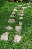Stepping stones through lawn grass