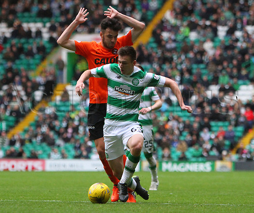 25.10.2015. Glasgow, Scotland. Scottish Premier League. Celtic versus Dundee United. Kieran Tierney goes down for a penalty to Celtic