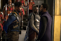 Black Panther (2018)<br /> L to R: Erik Killmonger (Michael B. Jordan) and T'Challa/Black Panther (Chadwick Boseman), b/g W'Kabi (Daniel Kaluuya)<br /> *Filmstill - Editorial Use Only*<br /> CAP/KFS<br /> Image supplied by Capital Pictures