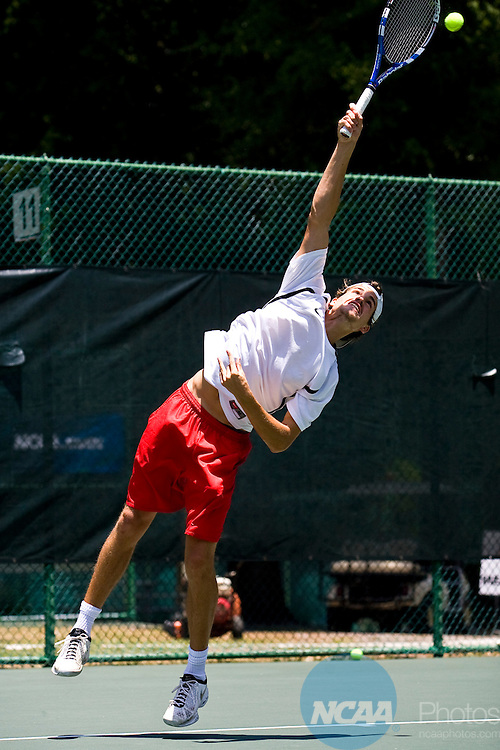 15 MAY 2010: Michael Kuech of Valdosta State University serves against Sergio Velez of Barry University during the Division II Men's Tennis Championship held at Sanlando Park in Altamonte Springs, FL.  Barry defeated Valdosta 5-4 to win the national title.  Matt Marriott/ NCAA Photos