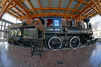Fisheye view of the restored CPR Engine 374 at the Roundhouse in Yaletown, Vancouver, British Columbia, Canada.