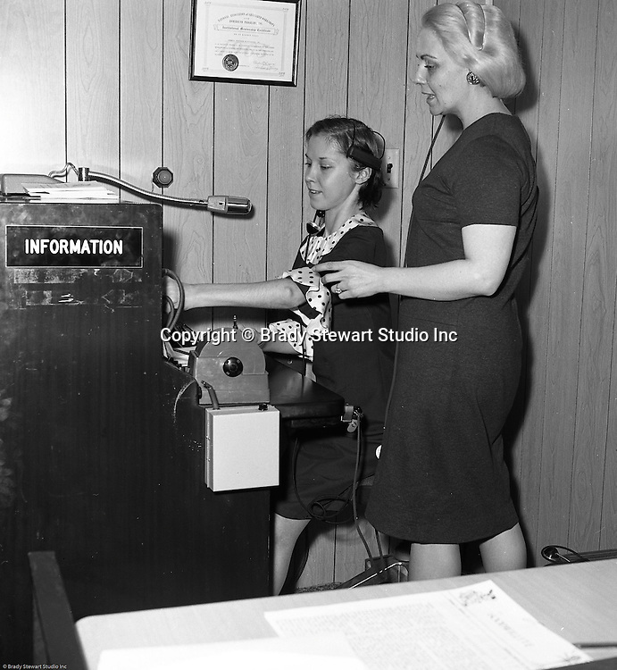 Pittsburgh PA:  Teaching telephone operator skills at Goodwill Industries 1966. Goodwill <br />