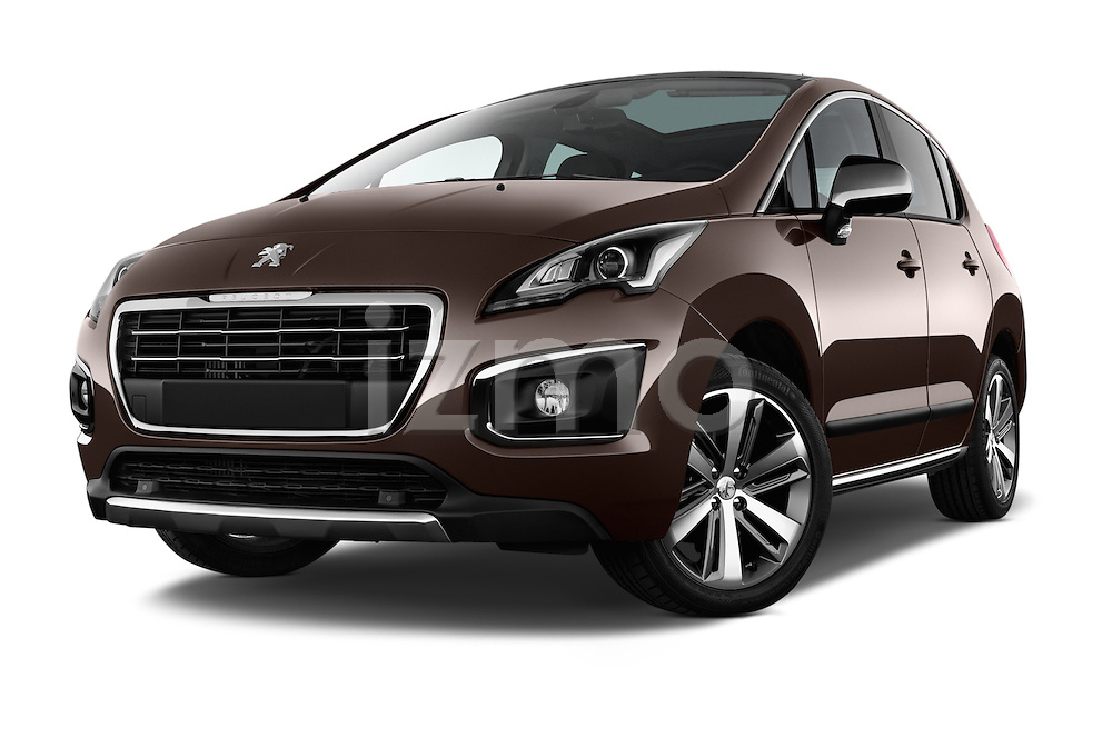 Low aggressive front three quarter view of a 2014 Peugeot 3008 5 Door SUV 2WD