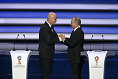 1st December 2017, State Kremlin Palace, Moscow, Russia;  GIANNI INFANTINO and VLADIMIR PUTIN during the 2018 FIFA World Cup trophy during the Final Draw of the FIFA World Cup 2018 at the Kremlin Palace in Moscow, capital of Russia, Dec. 1, 2017.